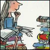 yati: Matilda sitting on a pile of books, reading. (Quentin Blake illustration.) (reader of books)