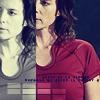 purpleyin: Elizabeth Weir looking to the side, repeat pattern in red tones and then greyscale (double)