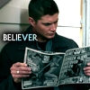 "randomreader: Dean reading a tabloid, with the caption ""believer"" (dean's a believer)"