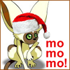"arduinna: Santa-hatted Momo (from Avatar the Last Airbender), saying ""mo mo mo"" (Yuletide)"