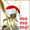 """arduinna: Santa-hatted Momo (from Avatar the Last Airbender), saying """"mo mo mo"""" (Yuletide)"""