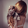 staranise: A girl from the back, with curled hair in a taffeta bow. ([personal] Much-beloved)
