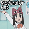 "codeman38: Osaka-san wearing her Chiyo-Dad hat, captioned ""Moderator Hat"". (mod hat)"