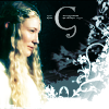"elleth: Galadriel smiling before a flowery background, with the letter ""G"" (LotR: Galadriel - G)"