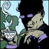 liviapenn: the shade, in shadow, looking smirky over a cup of coffee (dc: the shade is smirky)