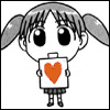 liviapenn: chibi girl holds up a sign with a heart on it (reaction: *hearts*)