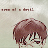 "lavinia: manga scan of top of Kyouya Ootori's head, including eyes; text ""eyes of a devil"" (Ouran - Kyouya's eyes of a devil)"