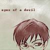 """lavinia: manga scan of top of Kyouya Ootori's head, including eyes; text """"eyes of a devil"""" (Ouran - Kyouya's eyes of a devil)"""