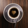 damigella: an espresso cup with foam shaped like a heart ()