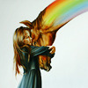sasha_feather: girl hugging a horse; the horse's neck is a rainbow (horse pride)