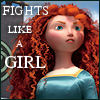 "cereta: Close-up of Merida from Brave, text ""Fights Like a Girl"" (Merida)"