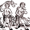 kinky_shakespeare: A woodcut of some men whipping themselves (Flagellants)