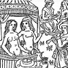 kinky_shakespeare: An Elizabethan woodcut of a naked couple in a canopied tup, surrounded by musicians (Naked couple in tub)