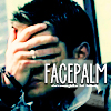 indeliblesasha: Dean with his hand on his face. Text: FACEPALM (*facepalm*)