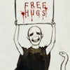 "omens: Voldemort holding a sign that says ""FREE HUGS"" (FREE HUGS voldie)"