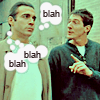 indeliblesasha: Methos lecturing Duncan, thought bubbles around Duncan's head: blah blah blah (HL - blahblahblah)