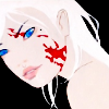 liberty_hat: a pale woman with white hair and a face splattered with blood (we don't want to hurt you)