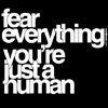 "169: text icon reading ""fear everything. you're just a human."" (bad)"