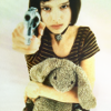 169: a young girl holding a stuffed rabbit and pointing a gun at the viewer (lethal)