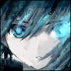 weareangels: A close-up of black rock shooter, a girl with black hair and blue eyes with bright light coming out of her right eye. (souji)