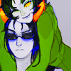 tragedy_virus: nepeta happily snuggling on equius' head while he looks unfazed (cuddles! (nepeta + equius))
