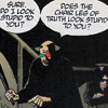j00j: transmetropolitan's spider jerusalem threatens someone with the chairleg of truth (chairleg of truth)