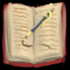 gryphesgallia: A picture of an open book with a pen writing in it. (book)