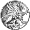 gryphesgallia: A coin depicting a gryphon in an aggressive stance, as on heraldry. (gryph)