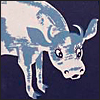 ext_6382: Blue-toned picture of cow with inquisitive expression (Default)