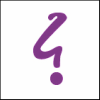 queerspoons: a purple irony mark, which looks like a stylized backwards question mark (Point d'Ironie)