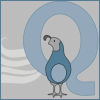 queerspoons: A powder-blue quail standing in front of a pale blue Q (Queer Quail)