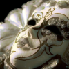 false_faces: white, gold, and silver masquerade mask (masquerade)