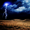 rising: lightning strike over a field (the cadre: night sky)