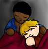 jlh: seamus and dean snuggling in bed (SD chibi)