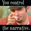 "arallara: Chris Kirkpatrick does the ""Uncle Sam"" point with text banners above and below reading ""You Control the Narrative."" (Default)"