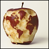 dorinda: The continents of the world, nibbled out of an apple (world_apple)
