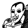 pooklet: dracula wolfs down popcorn, avidly reads shitty literature. (fascinating.)
