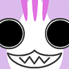 pooklet: grinning pastel purple cartoon cat with absolutely enormous eyes. gpoy. (OwO)
