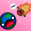 amaresu: Meteor coming to earth waying 'Hugs!' (HUGS!)
