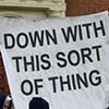 bodger: down with this sort of thing banner from $scientology protest (down with)