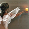 sunspot: an angel reaching forward with a lit candle (angel light)