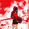 sunspot: drawing of a girl in a kilt and hoodie with a chainsaw, splattered red (i behave most of the time)