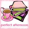ellia: coffe cup and saucer and a pile of books with the text perfect afternoon (books and coffee)
