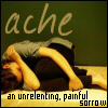 serpentine: a person in a fetal position with the word Ache and it's deifintion (Feelings - Ache)