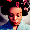timeasmymeasure: azealia banks with rollers in her hair and her eyes closed (az: contemplation in rollers)