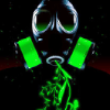 auto_destruct: a gas mask with neon green filters and plants coming out of it (gasmask)