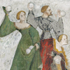 highlyeccentric: Manuscript illumination - courtiers throwing snowballs (medieval - everybody snowball)