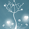 giddygeek: tree silhouette with rainbows & hearts (even robots want love and world peace)