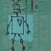 giddygeek: grafitti robot with heart & peace sign in a speech bubble (robots for world peace & grease)