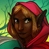 aldersprig: a brown-skinned girl with elf ears, yellow eyes, and a red hood carrying a notebook. (CiaraPicture)